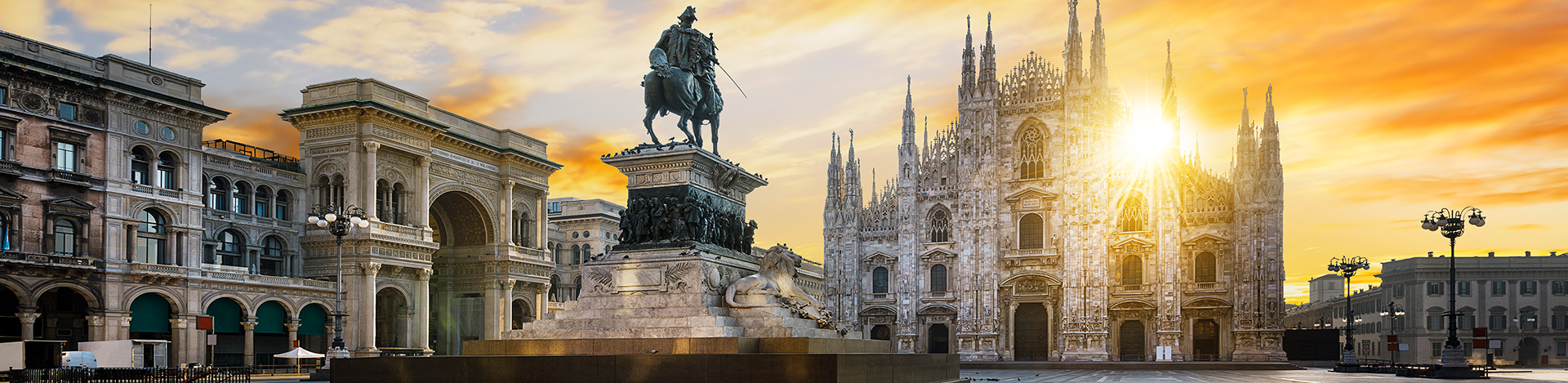 Milan Italy at sunrise