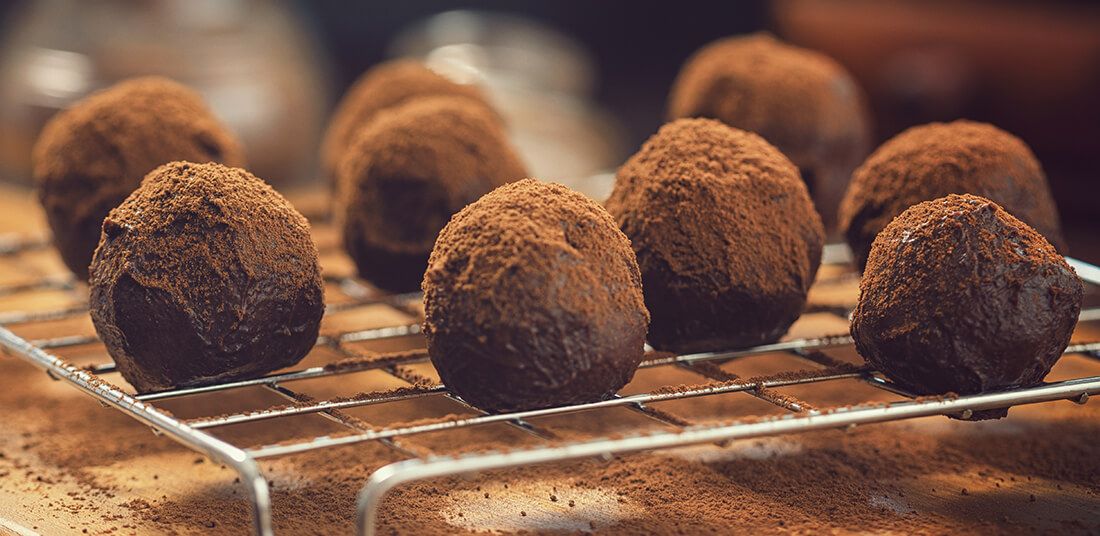 Amaretto Chocolate Truffles on baking rack