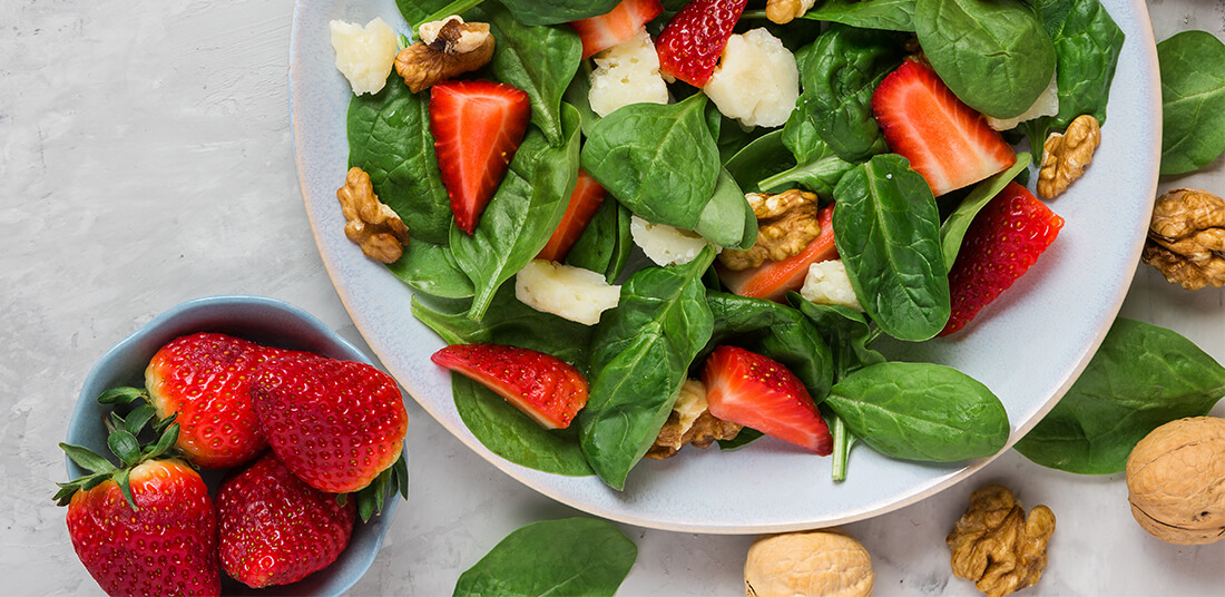 Bowl of Arugula and Strawberry Salad