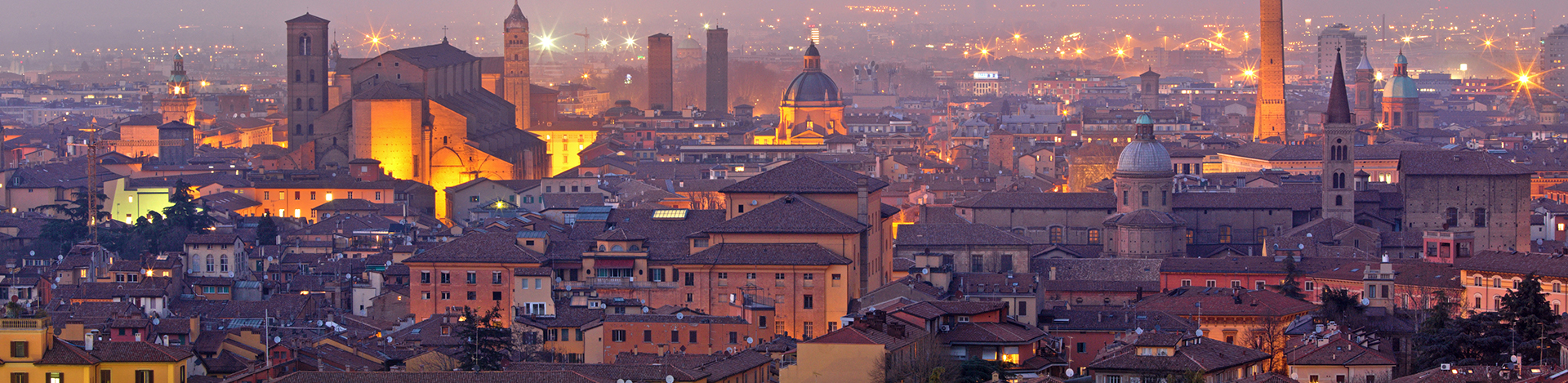 Bologna Italy at dusk