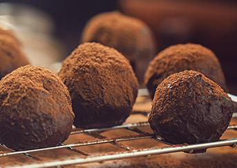 Amaretto Chocolate Truffles on baking rack